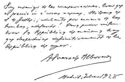 Autografo de Álvaro de Albornoz