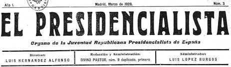 """""""El Presidencialista"""", n.º 3 - Cabecera"""