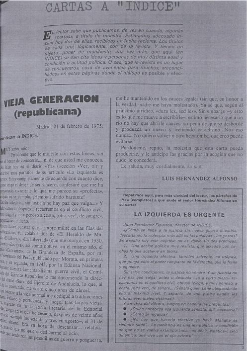 La carta de Hernández Alfonso publicada en el n.º 371-72 de «Índice» del