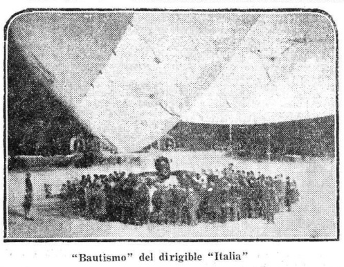 «Bautismo» del dirigible «Italia».