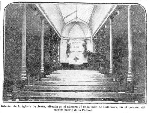 Interior de la iglesia de Jesús, situada en el número 27 de la calle de Calatrava, en el corazón del castizo barrio de la Paloma