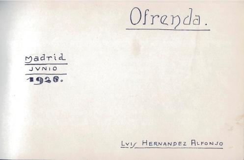 Luis Hernández Alfonso, «Ofrenda» - Portada