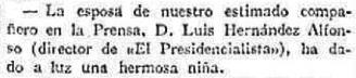 Gacetilla anunciando el nacimiento de Lolita Hernández Rodríguez, publicada en el diario madrileño «El Imparcial» del 14 de agosto de 1929