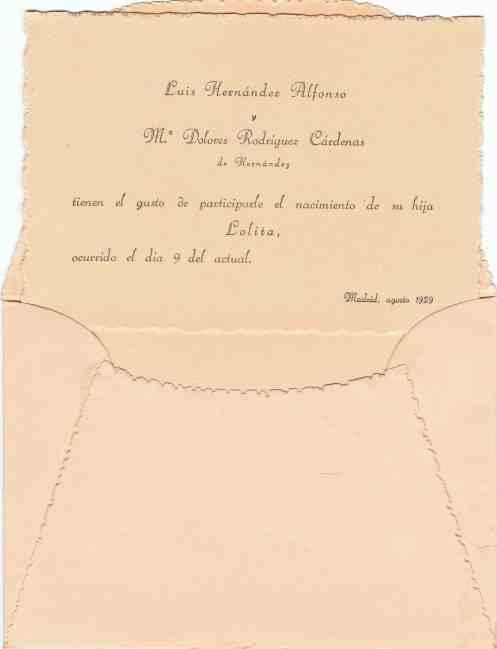 Participación de nacimiento de Lolita Hernández Rodríguez (Madrid, 9-VIII-1929)
